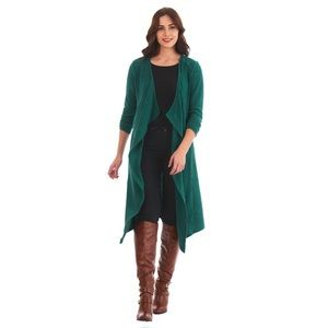 eShakti Ribbed Knit Open Drapey Cascading Cardigan
